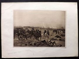Henri Dupray 1902 Antique Military Print. Battle of Dettingen, 1743